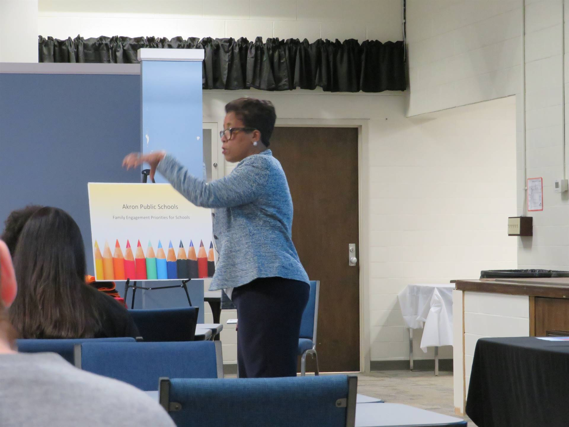 Karen Mapp pointing