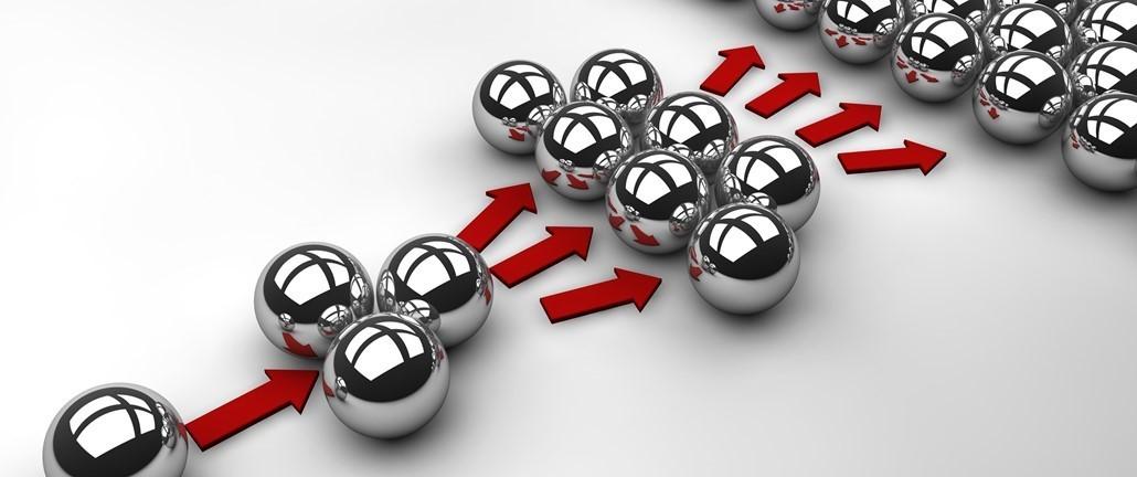 silver balls following arrows