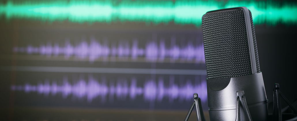 Microphone in front of mixing board