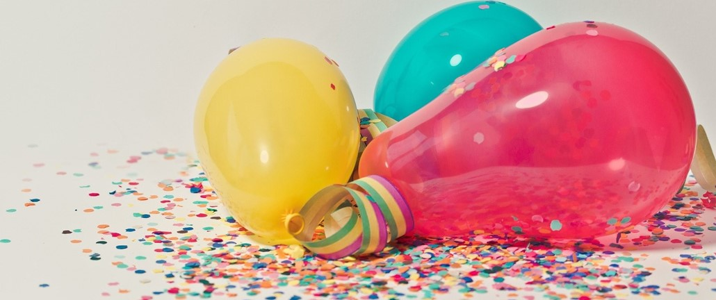 Colored balloons and confetti